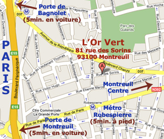 Plan acces : Growshop - L'Or Vert - Paris - Montreuil - Villemomble